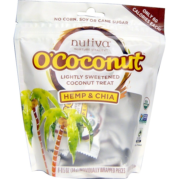 Nutiva, O'Cocunut, Hemp & Chia, 8 Individually Wrapped Pieces, 0.5 oz (14 g) Each