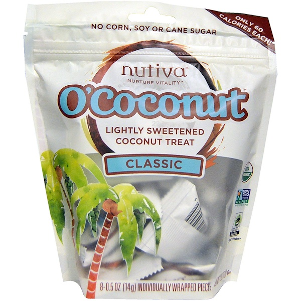 Nutiva, O'Coconut, Classic, 8 Individually Wrapped Pieces, 0、5 oz (14 g) Each