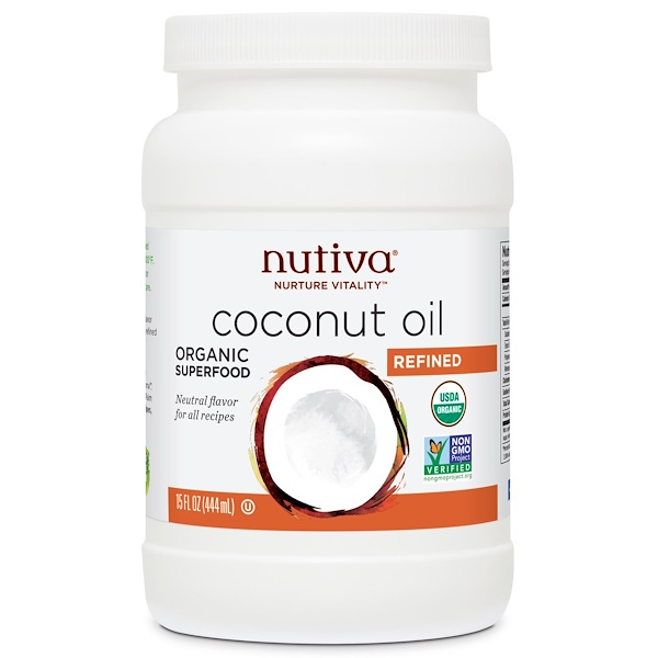 Nutiva, Organic Coconut Oil, Refined, 15 fl oz (444 ml)