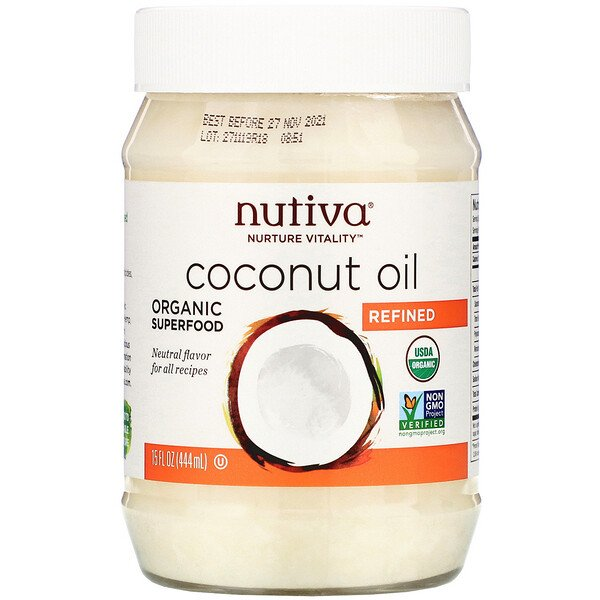 Organic Coconut Oil, Refined, 15 fl oz (444 ml)