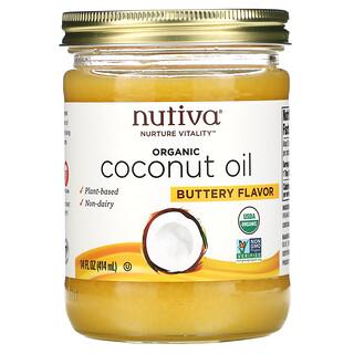 Nutiva, органическое кокосовое масло, с ароматом сливочного масла, 414мл (14жидк.унций)