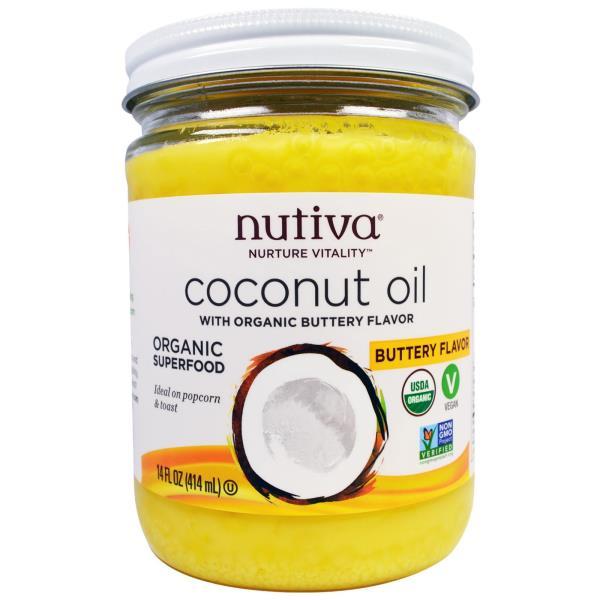 Nutiva, オーガニックココナッツオイル、バター風フレーバー、14液量オンス (414 ml)