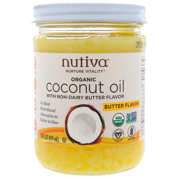 Organic Coconut Oil, Butter Flavor, 14 fl oz (414 ml)