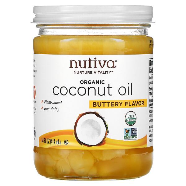 Nutiva, زيت جوز الهند العضوي، نكهة زبدية، 14 أونصة سائلة (414 مل)