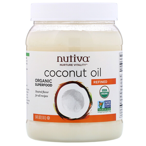 Nutiva, Organic Coconut Oil, Refined, 54 fl oz (1.6 l)
