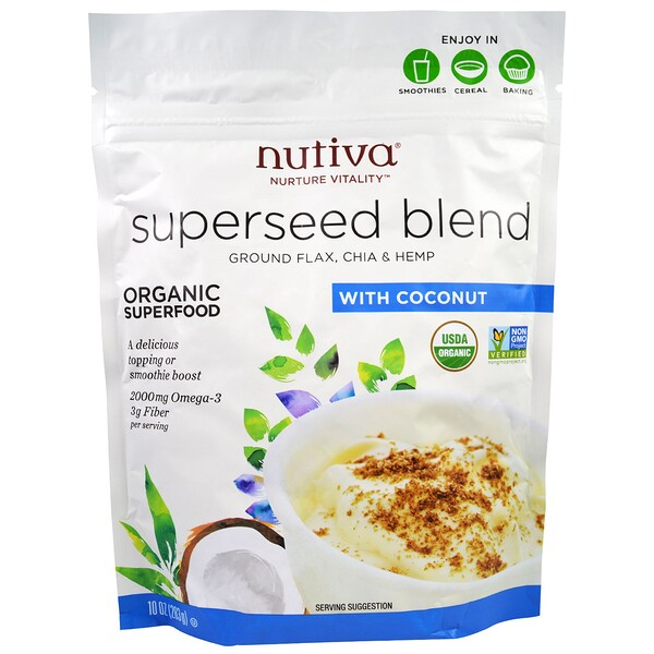 Nutiva, Organic Superseed Blend、ココナッツ入り、10オンス(283 g)