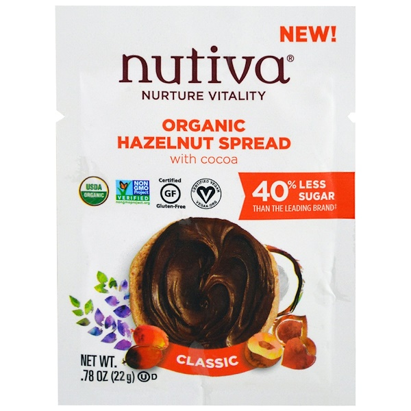 Nutiva, Organic Hazelnut Spread, Classic, Trial Size , .78 oz (22 g) (Discontinued Item)