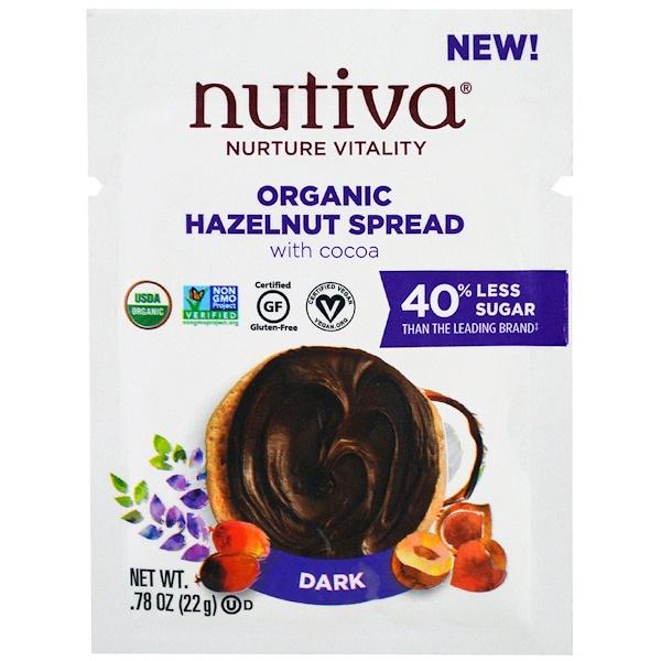 Nutiva, Organic Hazelnut Spread, Dark, Trial Size, .78 oz (22 g) (Discontinued Item)