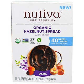 Nutiva, Organic Hazelnut Spread, Dark, 10 Packets, .78 oz (22 g) Each