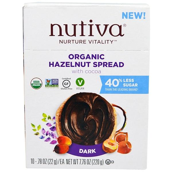 Nutiva, Organic Hazelnut Spread, Dark, 10 Packets, .78 oz (22 g) Each (Discontinued Item)