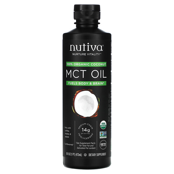 100% Organic Coconut MCT Oil, Unflavored, 16 fl oz (473 ml)