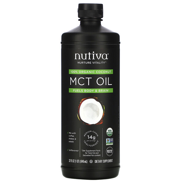 100% Organic Coconut MCT Oil, Unflavored, 32 fl oz (946 ml)