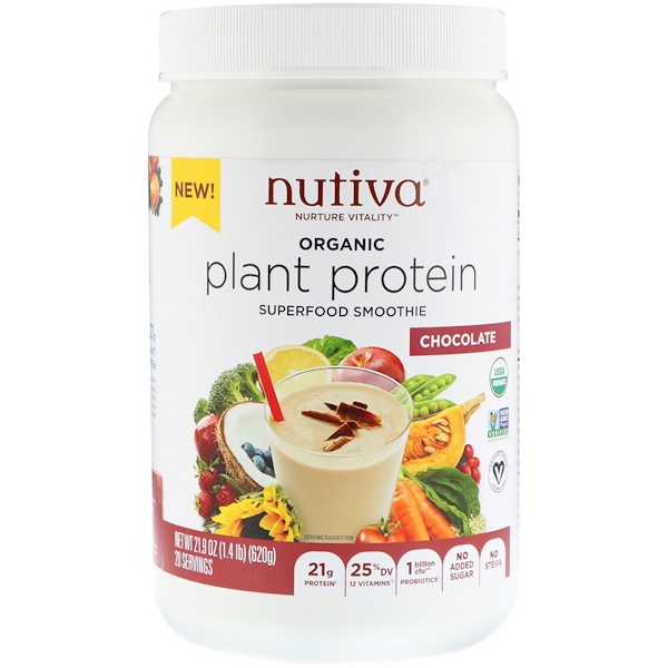 Nutiva, Organic Plant Protein, Chocolate, 1.4 lb (620 g) (Discontinued Item)