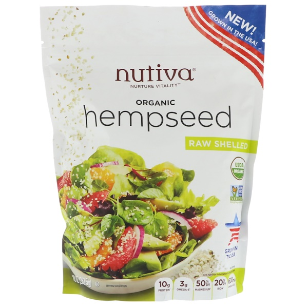 Nutiva, Organic Hempseed, Raw Shelled, 10 oz (283.5 g) (Discontinued Item)