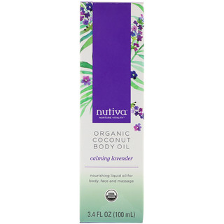 Nutiva, Organic Coconut Body Oil, Calming Lavender, 3.4 fl oz (100 ml)