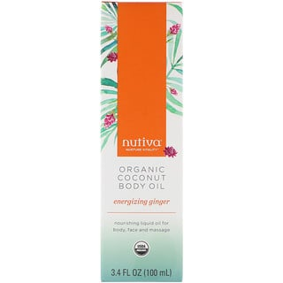 Nutiva, Organic Coconut Body Oil, Energizing Ginger, 3.4 fl oz (100 ml)