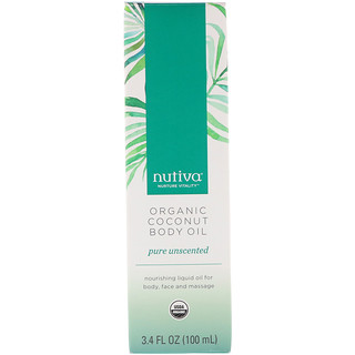 Nutiva, Organic Coconut Body Oil, Pure Unscented, 3.4 fl oz (100 ml)