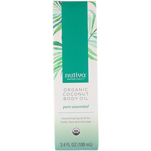 Нутива, Organic Coconut Body Oil, Pure Unscented, 3.4 fl oz (100 ml) отзывы