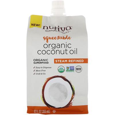 Купить Nutiva Органическое сжимаемое кокосовое масло, получено путем паровой дистилляции, 355мл (12жидк.унций)
