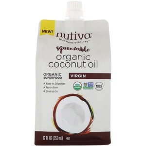Nutiva, Organic Squeezable, Virgin Coconut Oil, 12 fl oz (355 ml)