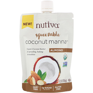 Нутива, Organic Squeezable, Coconut Manna, Almond, 6.2 oz (176 g) отзывы