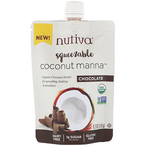 Nutiva, Organic Squeezable, Coconut Manna, Chocolate, 6.2 oz (176 g)
