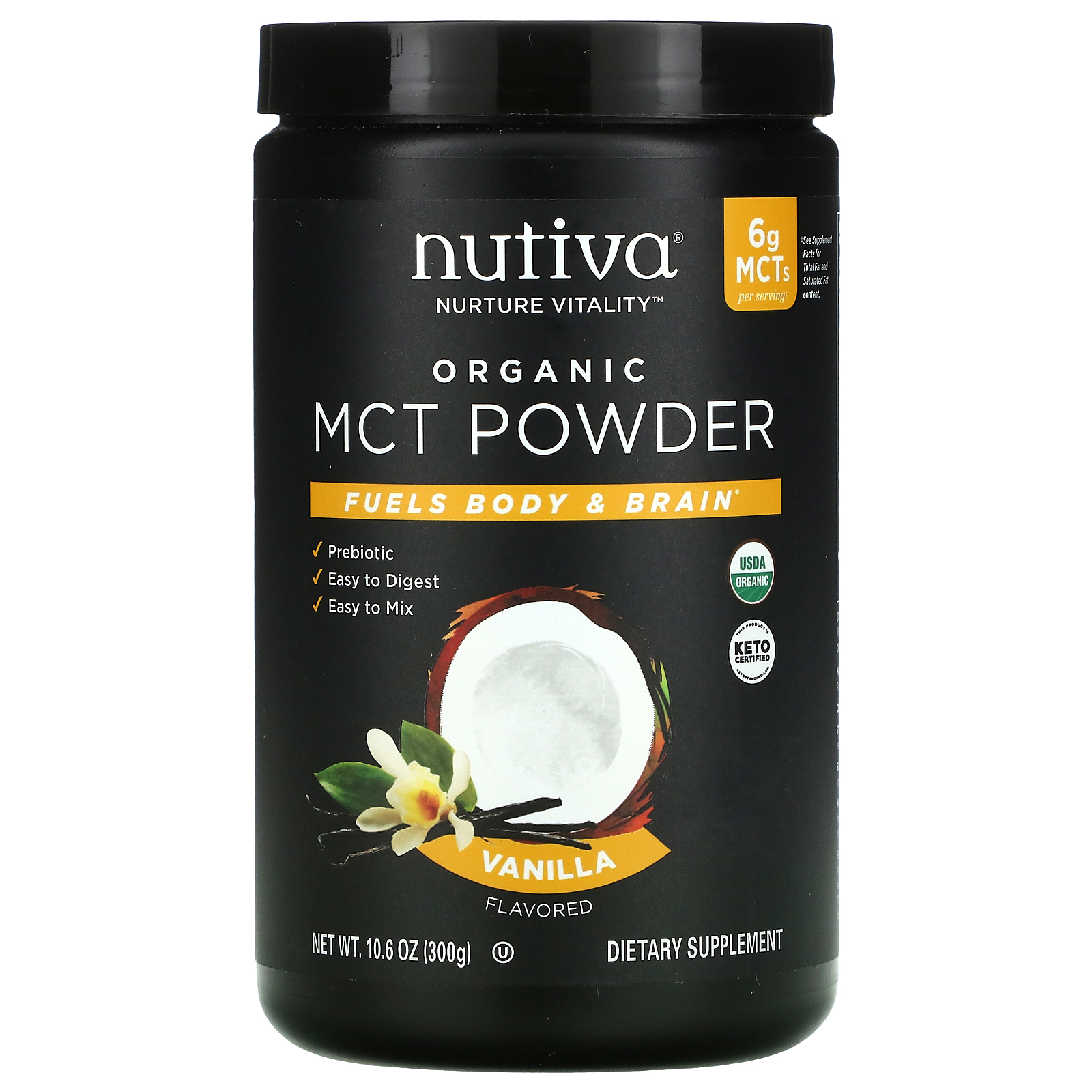 Nutiva, Organic MCT Powder, Vanilla, 8.8 oz 8 g   iHerb