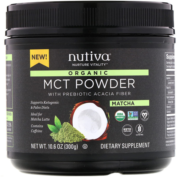 Organic MCT Powder, Matcha, 10.6 oz (300 g)