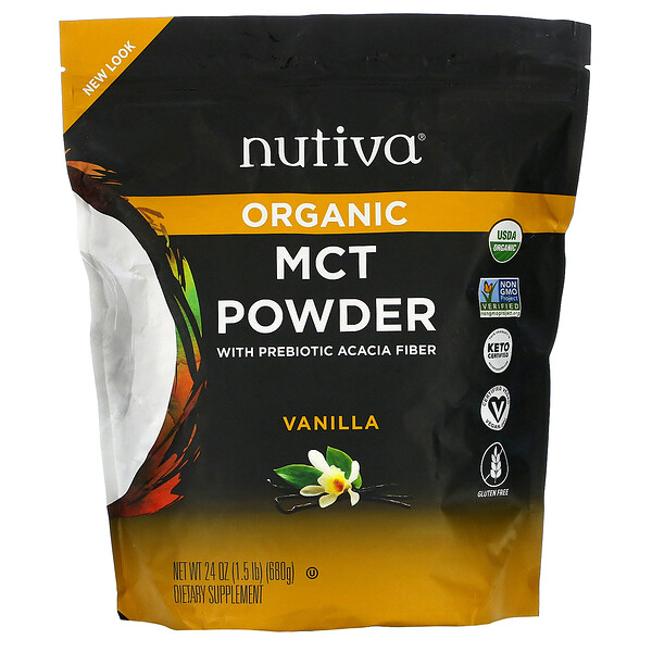 Nutiva, Organic MCT Powder with Prebiotic Acacia Fiber, Vanilla, 1.5 lb (680 g) (Discontinued Item)