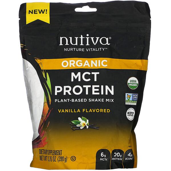 Organic MCT Protein, Plant-Based Shake Mix, Vanilla,  13.76 oz (390 g)