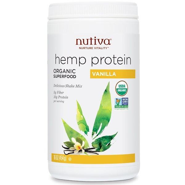 Nutiva, Organic Superfood,  Hemp Protein Shake Mix, Vanilla, 16 oz (454 g)