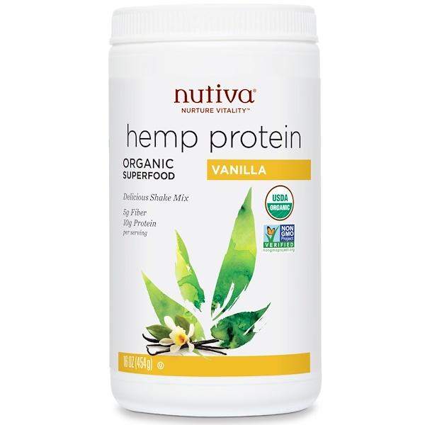 Nutiva, Organic Superfood,  Hemp Protein Shake Mix, Vanilla, 16 oz (454 g) (Discontinued Item)