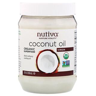 Nutiva, Huile de noix de coco bio, Vierge, 29floz (858ml)