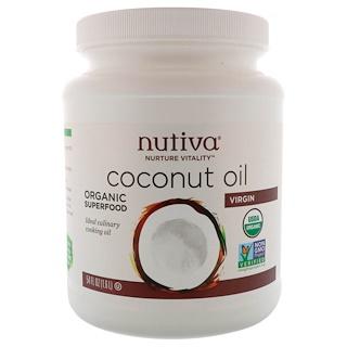 Nutiva, Органическое кокосовое масло первого отжима, 54 жидкие унции (1,6 л)