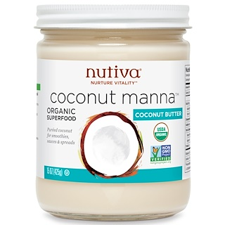 Nutiva, 오가닉, 코코넛 만나, 퓌레드 코코넛, 15 온스 (425 그램)