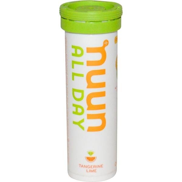 Nuun, ビタミン強化ドリンクタブレット、オールデイ、タンジェリンライム、15個 (Discontinued Item)