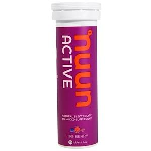 Nuun, Активная добавка, обогащенная природными электролитами, Tri-Berry, 10 таблеток