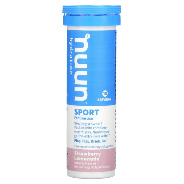 Hydration, Sport, Effervescent Electrolyte Supplement, Strawberry Lemonade, 10 Tablets