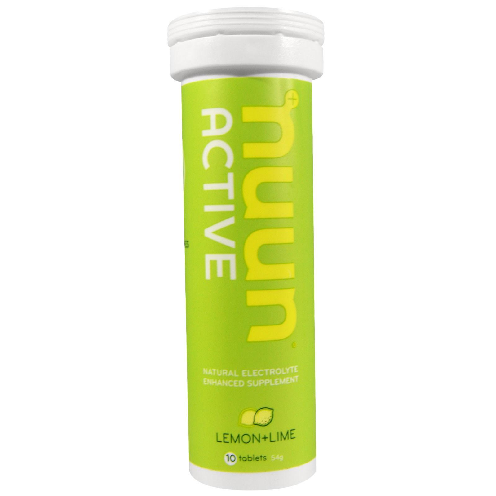 Nuun, Активная добавка, обогащенная природными электролитами, лимон + лайм, 10 таблеток