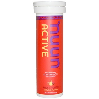 Nuun, Active, Effervescent Electrolyte Supplement, Fruit Punch, 10 Tablets