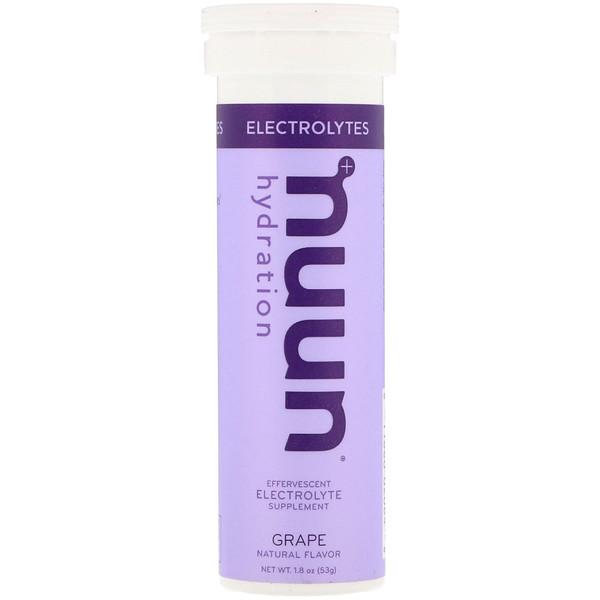 Nuun, Effervescent Electrolyte Supplement, Grape, 10 Tablets