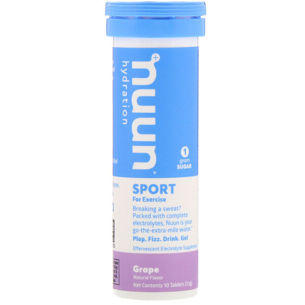 Nuun, Hydration, Effervescent Electrolyte Supplement, Grape, 10 Tablets (Discontinued Item)