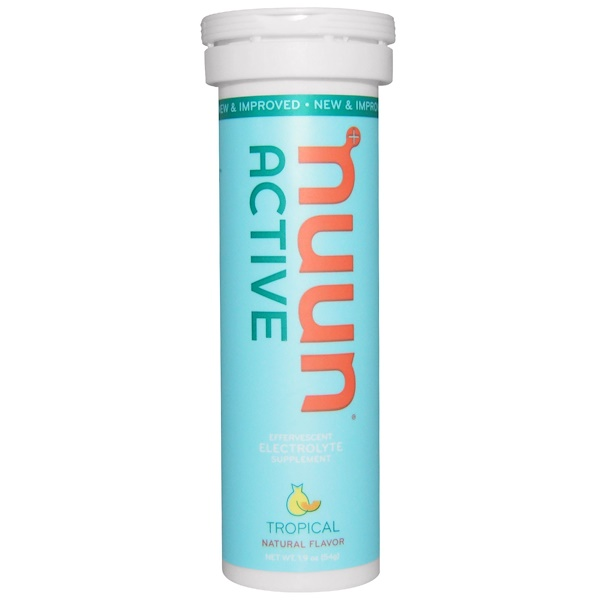 Nuun, Active, Effervescent Electrolyte Supplement, Tropical, 10 Tablets