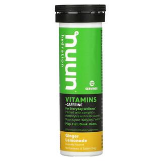 Nuun, Hydration, Vitamins + Caffeine, Effervescent Vitamin Supplement, Ginger Lemonade,  12 Tablets