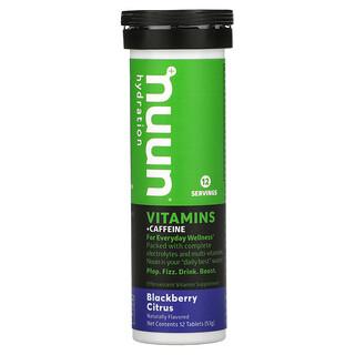 Nuun, Hydration, Vitamins + Caffeine, Effervescent Vitamin Supplement, Blackberry Citrus, 12 Tablets