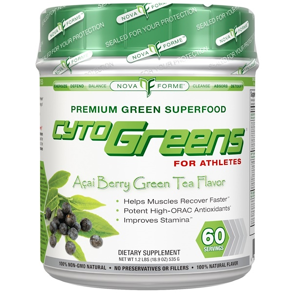 NovaForme, CytoGreens, Premium Green Superfood for Athletes, Acai Berry Green Tea Flavor, 18、9 oz (535 g)