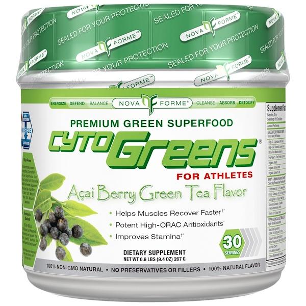 NovaForme, CytoGreens, Premium Green Superfood for Athletes, Acai Berry Green Tea Flavor, 9.4 oz (267 g) (Discontinued Item)
