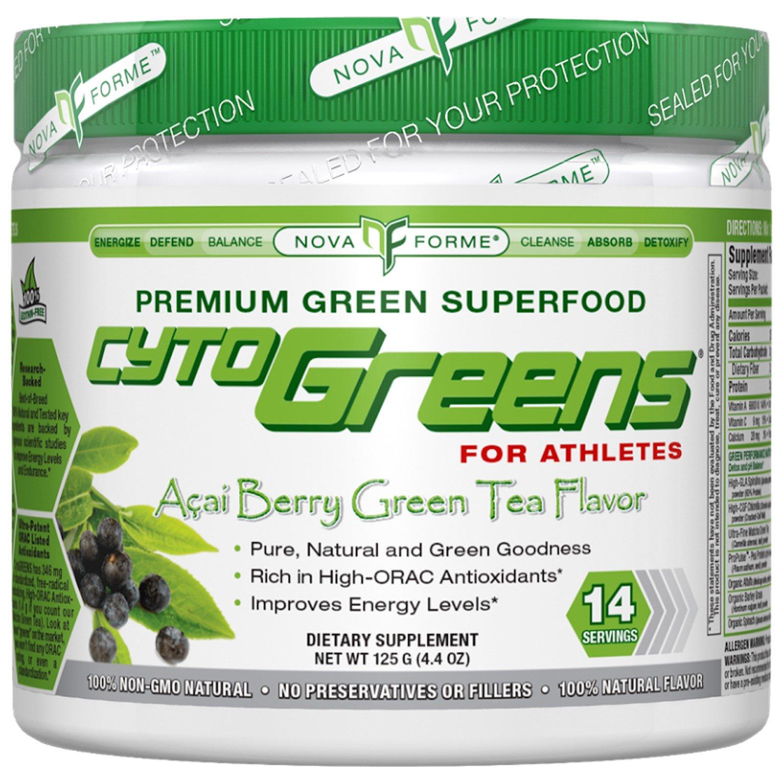 NovaForme, CytoGreens, зеленая суперпища, высокое содержание антиоксидантов, зеленый чай со вкусом ягод асаи, 4,4 унции (125 г)
