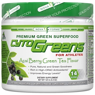 NovaForme, CytoGreens, High-ORAC Premium Green Superfood, Acai Berry Green Tea Flavor, 4.4 oz (125 g)