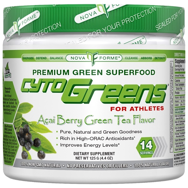 NovaForme, CytoGreens, High-ORAC Premium Green Superfood, Acai Berry Green Tea Flavor, 4.4 oz (125 g) (Discontinued Item)